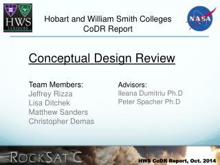 HWS CoDR Report, Oct. 2014