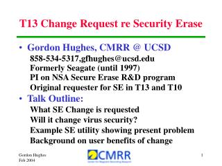 T13 Change Request re Security Erase