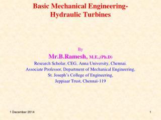 Basic Mechanical Engineering-Hydraulic Turbines
