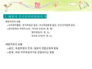 - 해방직전의 상황 -> 건국준비활동 : 한국독립당 결성 / 조선독립동맹 결성 / 조선건국동맹 결성