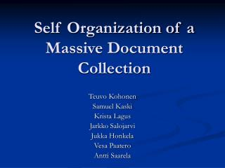 Self Organization of a Massive Document Collection