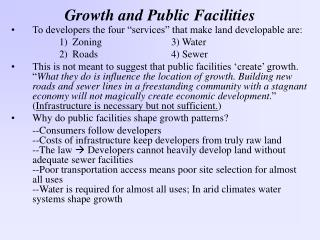 Growth and Public Facilities