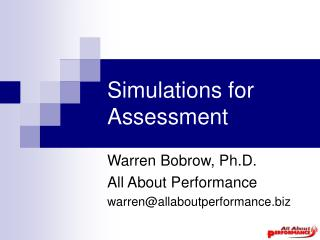 Simulations for Assessment