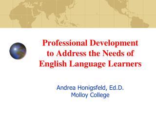 Professional Development   to Address the Needs of English Language Learners