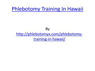 Phlebotomy Training In Hawaii