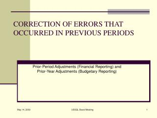 CORRECTION OF ERRORS THAT OCCURRED IN PREVIOUS PERIODS