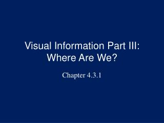 Visual Information Part III: Where Are We?