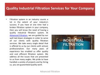 Quality Industrial Filtration Services for Your Company