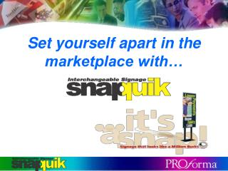 Set yourself apart in the marketplace with…