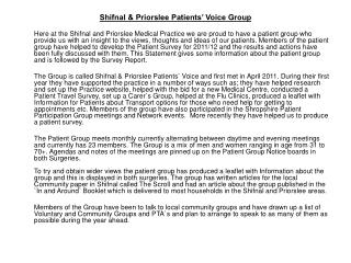 Shifnal & Priorslee Patients' Voice Group
