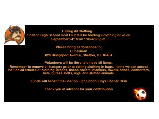 SHS Goal Club Fundraising Event! Calling All Clothing…