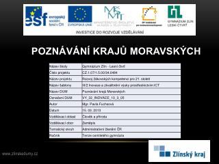 Poznávání krajů moravských