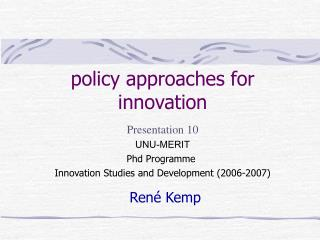 policy approaches for innovation