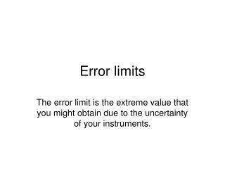 Error limits