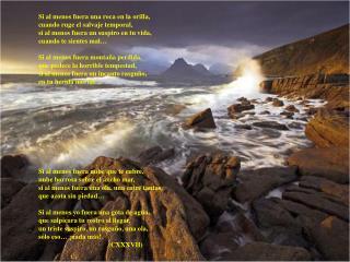 Si al menos fuera una roca en la orilla, cuando ruge el salvaje temporal,