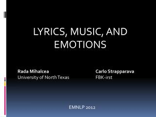 Lyrics, Music, and Emotions
