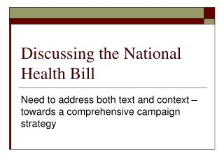 Discussing the National Health Bill