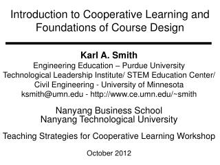 Introduction to Cooperative Learning and Foundations of Course Design