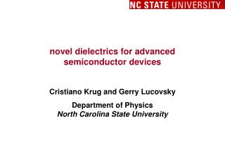 novel dielectrics for advanced                               semiconductor devices