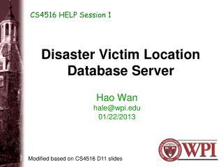 Disaster Victim Location Database Server