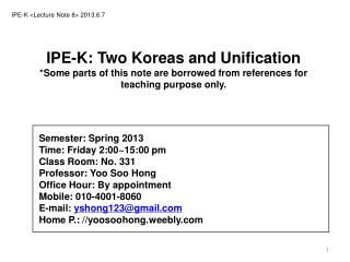 IPE-K  < Lecture Note  8> 2013.6.7