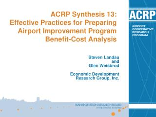 ACRP Synthesis 13: Effective Practices for Preparing Airport Improvement Program