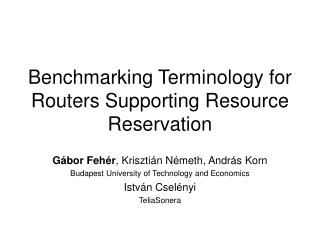 Benchmarking Terminology for Routers Supporting Resource Reservation