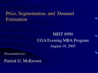Price, Segmentation, and  Demand Estimation