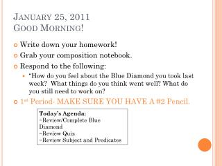 January 25, 2011 Good Morning!