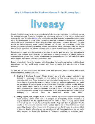 Why It Is Beneficial For Business Owners To Avail Liveasy