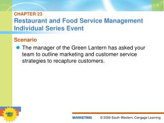 CHAPTER 23 Restaurant and Food Service Management Individual Series Event