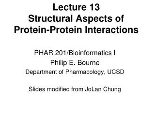 Lecture 13 Structural Aspects of Protein-Protein Interactions