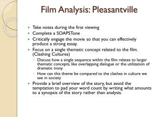 Film Analysis: Pleasantville