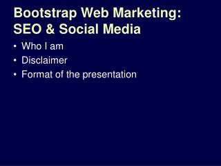 Bootstrap Web Marketing: SEO & Social Media