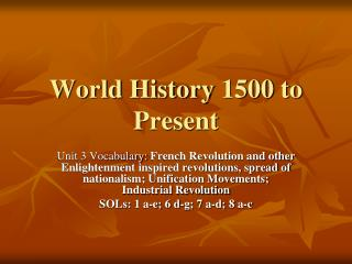 World History 1500 to Present