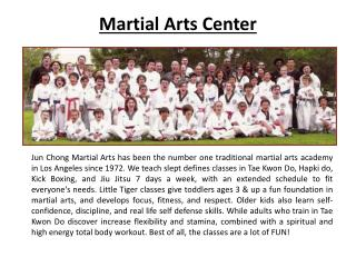 martial arts center for kids los angels