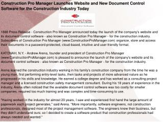 Construction Pro Manager Launches Website