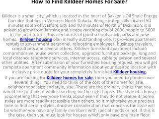 How To Find Killdeer Homes For Sale?