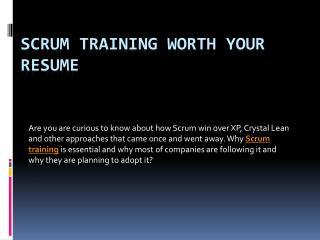Scrum training worth your resume