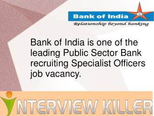 Bank of India Exam 2014 - Interviewkiller