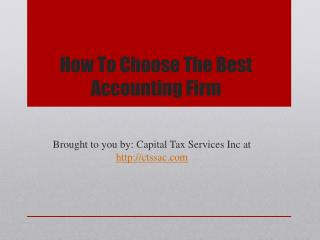 How To Choose The Best Accounting Firm