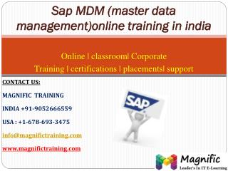 Sap mdm (master data management)online training in india