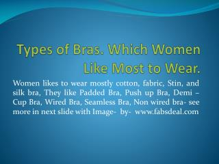 Types of Bra which women like most to wear Fabsdeal