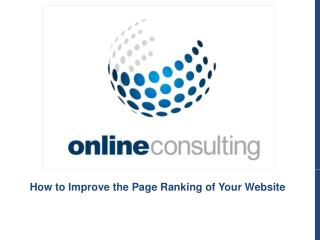 How to Improve the Page Ranking of Your Website