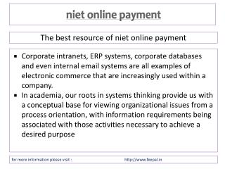 most wonderful issue about niet online payment