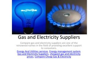Gas and Electricity Suppliers