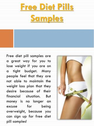 Free Diet Pill Samples