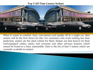 Top 3 All Time Luxury Sedans