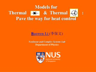 Models for  Thermal 	             &  Thermal            : Pave the way for heat control