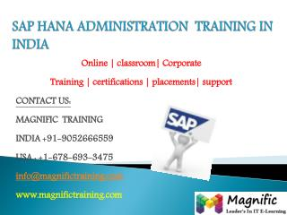 SAP HANA ADMINISTRATION  TRAINING IN  INDIA